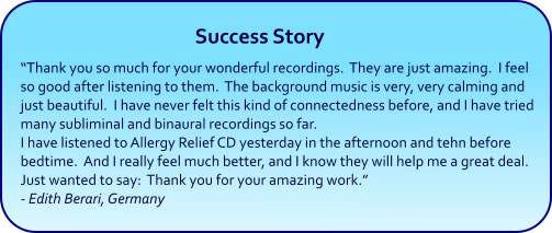 Allergy Relief Hypnosis CDs and mp3s - success story