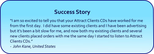 Attract Clients Hypnosis CDs and mp3 Downloads success story