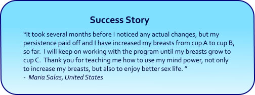 Breast Enlargement Hypnosis CDs and mp3 Downloads success story