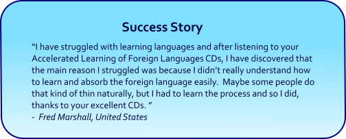 Learn Foreign Languages Hypnosis CDs and mp3 downloads success story