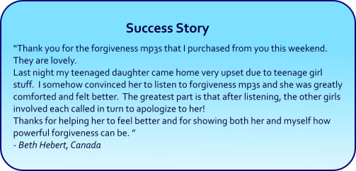 Forgiveness Hypnosis mp3s and CDs Success Story