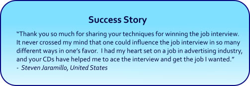 Win Job Interview Hypnosis CDs and mp3 downloads success story